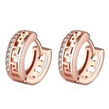 Rose Gold Plated Earring Round Earrings Cz Ear Piercing Clip Earrings Women DE
