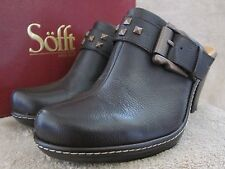 SOFFT Womens Daney Buckle  Mahogany Leather Clogs Slip On Shoes US 9 M EU 40 NWB
