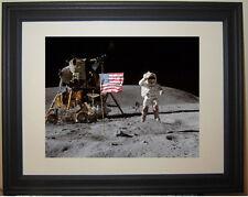 Apollo  Moon Landing  NASA Flag Salute  Framed Photo Photograph Picture