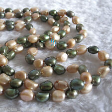 """Freshwater Pearl Necklace Z 48"""" 7-8mm Champagne Olive Baroque"""