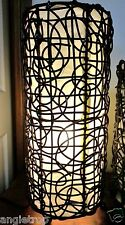 BALI RATTAN WOVEN WICKER DESK TABLE BEDSIDE LAMP LANTERN LIGHT BALINESE 50CM