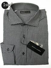Ralph Lauren camisa del negocio en 43 , 17 Negro a cuadros MADE IN ITALY