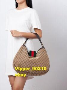 Gucci  Monogram Large  Ladies Web Hobo  jackie Dark Brown  bag ref 233604