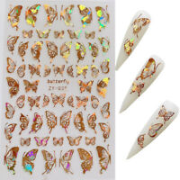 3D Holographic Butterfly Nail Art Decal Stickers Wings Autumn Gold  UK Stunner
