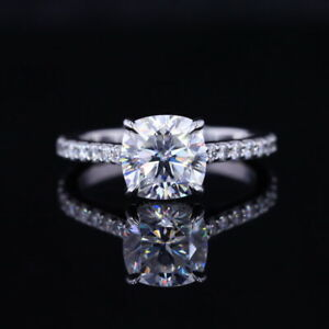 Cushion Brilliant cut 7x7mm 14k White Gold cathedral Set Engagement Ring