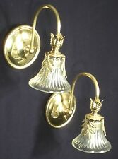 PAIR OF MID CENTURY MODERN BRASS FLORAL SCONCES WITH GLASS BELL SHADES