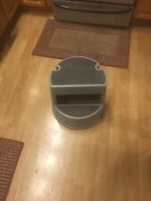 Rubbermaid Light Blue Rolling Step Stool With Retracting Coasters