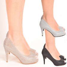 Ladies Womens Glitter Diamante Wedding Bridal Bridesmaids Prom High Heel Shoes