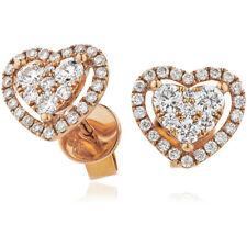0.65ct F VS Diamond Heart Halo Earrings in 18ct Rose Gold