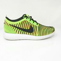 Nike Boys Roshe Two Flyknit 844619-300 Orange Green Black Running Shoes Size 5 Y