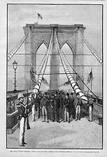 BROOKLYN BRIDGE PRESIDENT ARTHUR AND HIS PARTY CROSSING THE SUSPENDED HIGHWAY