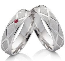 Los anillos de boda de amistad, compromiso 925 anillos de plata con circonita roja y grabado szr49