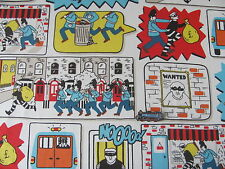 CAth Kidston FQ 50cm /  50cm square stop thief comic print cotton fabric new