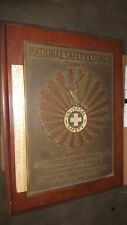 Rare 1936 National Safety Council Trophy Huge Plaque To U.S. Rubber Products Inc