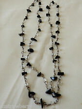"""Silver chain black onyx & clear crystal quartz beads necklace 32""""L"""