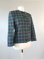 Vintage Jacket Pure Wool JAEGER Blazer Houndstooth Check 80s Uk 12-14