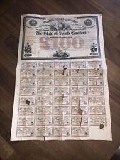 RARE ORIGINAL ANTIQUE RE-CONSTRUCTION BOND  STATE OF SOUTH CAROLINA 1871-1890