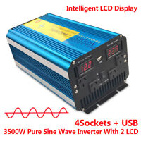 3500W/7000W Pure Sine Wave Power Inverter 12V to 240V USB AU Socket Camping boat