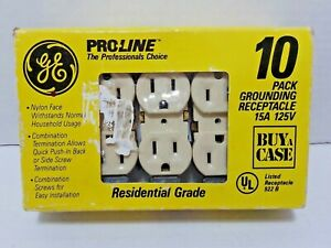 NEW GE Proline Pack of 10 Off-White/Beige Electrical Receptacle Outlets 15A 125V