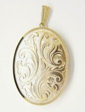Large Oval Engraved Locket - 9ct Yellow Gold - 43x32mm