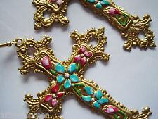 Art Nouveau Art Deco earrings cross Byzantine statement vintage style LARGE