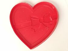 "Red 3 1/2"" Heart w Bow Imprint Cookie Cutter Art Mold"