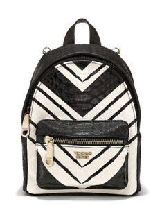 NEW VICTORIA'S SECRET BLACK WHITE PYTHON MINI CITY BACKPACK PURSE BAG SNAKE SKIN