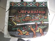 NEW JERUSALEM CAMELS WISE MEN BEADED BLACK BUCKET PURSE TOTE RELIGIOUS TOTE