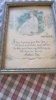 "Mother Day Poem Print Vintage Gold Frame 5 5/8"" x 7 5/8""  1920s 1930s"