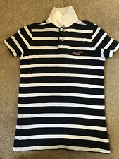Hollister Mens Polo Shirt Small Blue White Stripe Abercrombie