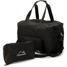 Schwarz Faltbare Reisetasche 38L Duffle Bag für Handgepäck Gym Camping Sport