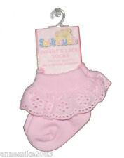 BNWT baby girls white or pink  broderie anglaise sock 0-3m  3-6m  6-12m  12-18m