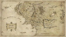 """Map of Middle Earth Lord Of The Ring Fabric Art Cloth Poster 24x13"""" Decor 42"""