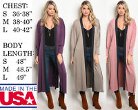 USA MADE WOMENS RELAX FIT MAXI SWEATER CARDIGAN LOOSE KNIT COAT JACKET OUTWEAR
