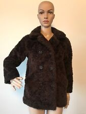 Gap Dark Chocolate Brown Faux Fur Jacket Double Breasted Coat Washable Women's M