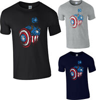 Captain America T-Shirt,Avengers Marvel Comics Superhero Action Adult Kids Top