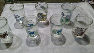 Vintage Welch's Jelly Jars 1990 1991 1993 Tom & Jerry Juice Glass Cups Set of 7