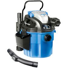 Wall Mountable Wet Dry Vacuum Cleaner Portable Bagless Remote Control 5 Gal Blue
