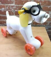 RARE Vintage Riding Wheeled Dog with Glasses Empire Blow Mold Pull Toy