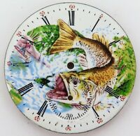 .STUNNING CUSTOM MADE PAINTED ELGIN POCKET WATCH DIAL. FLY FISHING, BASS, TROUT.