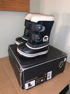 NIB Sorel Toddler Unisex 1964 Pac Strap Snow Boots Black Size 4