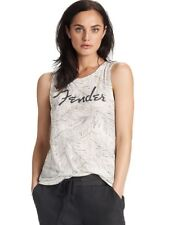 Lucky Brand - Womens XS - $39 Oatmeal Etched Floral Palm Fender Guitar Tank Top