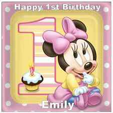 "Minnie Mouse 1st Birthday Personalised Cake Topper Edible Wafer Paper 7.5"" Squ"