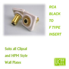 RCA - F Type Black Audio Wall Plate Insert Fits CLIPSAL AND COMPATIBLE PLATES