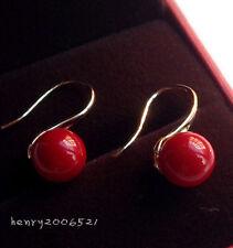 fascinating new charming wo 10 mm red South sea shell pearl 18KGP hoop earrings