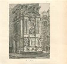 Paris 1840 Fontaine Molière à Paris sous le règne de Louis-Philippe GRAVURE 1883