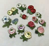 Lot of 14 Small Vintage Floral Flower Appliques Red Pink Yellow Roses Etc