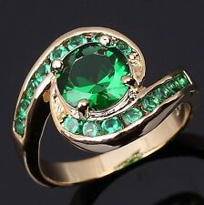 Fashion Jewelry Size 7 Round Cut Emerald 18K Gold Filled Rings For Womens Halo