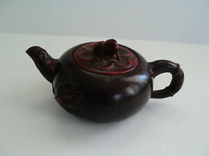 ANTIQUE CHINESE DARK CHERRY AMBER INDIVIDUAL TEAPOT w/ FROG FINIAL TOP