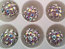 1 x 12mm Swarovski CRYSTAL MESH BALL beads AB/WHITE PEARL threaded round